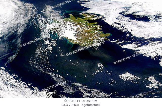 This view looks slightly north of west across Iceland. It shows some absorbing aerosols off the southern and eastern shores