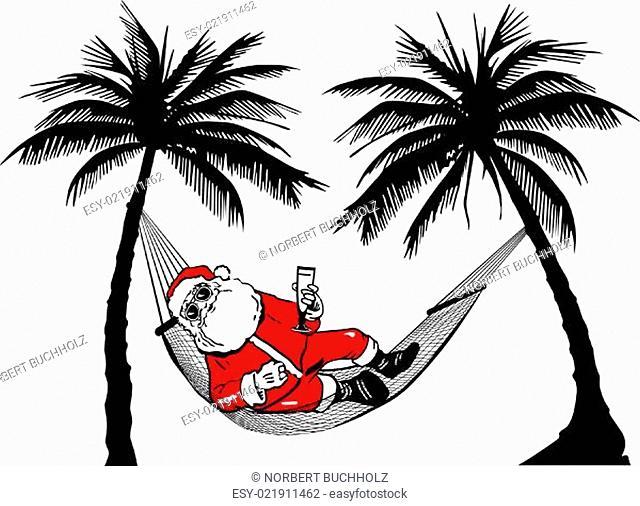 Weihnachtsmann in Hängematte