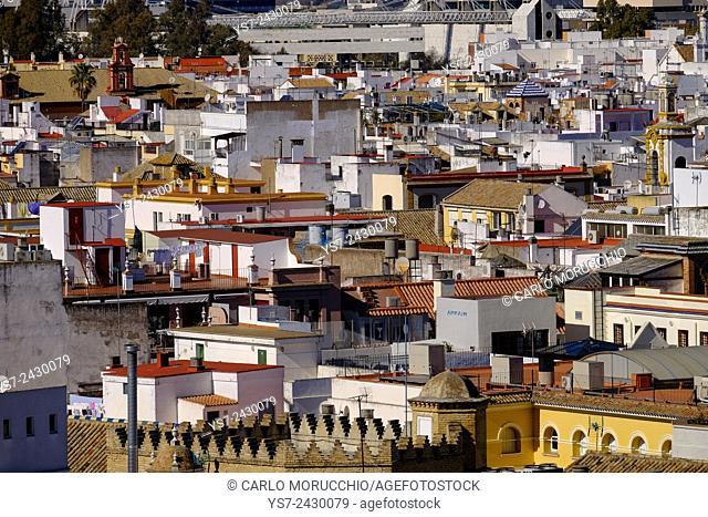 View of Sevilla from the top of Metropol Parasol, known as Setas de Sevilla, the Mushrooms, Sevilla, Andalusia, Spain