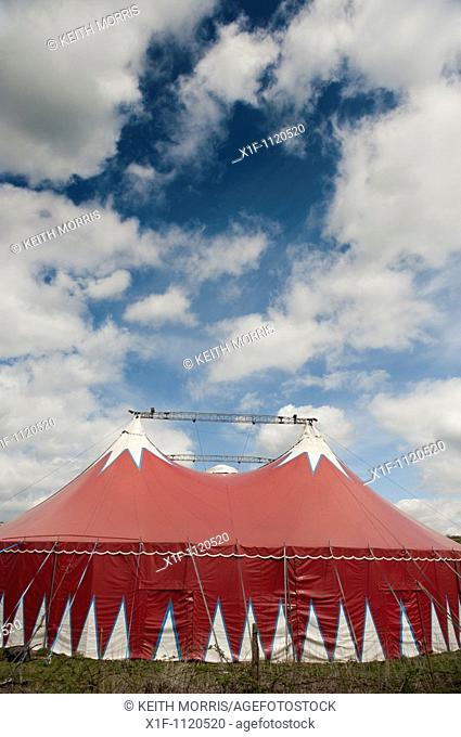 The Big Kid travelling circus red coloured big top tent, visiting Aberystwyth Wales UK