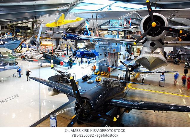 Military aircraft from the World War II era are on display in Pensacola, Florida