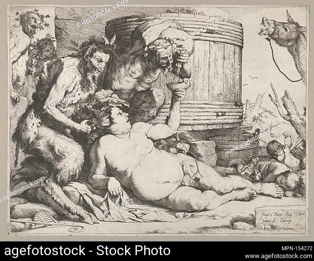 Drunken Silenus holding a cup aloft into which a Satyr pours wine. Artist: Jusepe de Ribera (called Lo Spagnoletto) (Spanish