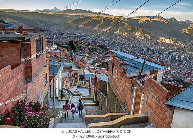 El Alto, in background Panoramic view of La Paz and Los Andes mountains, La Paz, Bolivia