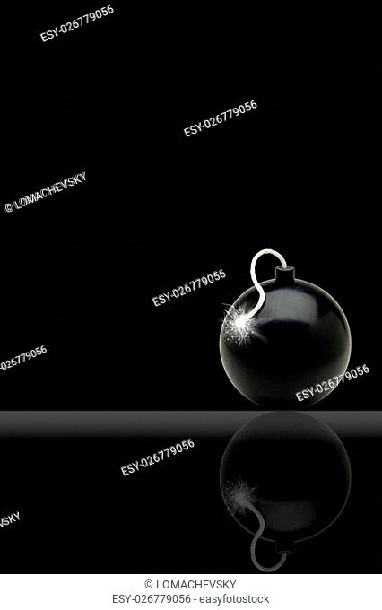Illustration of a bomb with a burning cord on a black background
