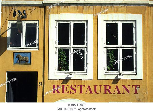 Denmark, Copenhagen, Nyhavn,  Restaurant, detail,  Buildings, house, facade, house facade, yellow, windows, pizzeria