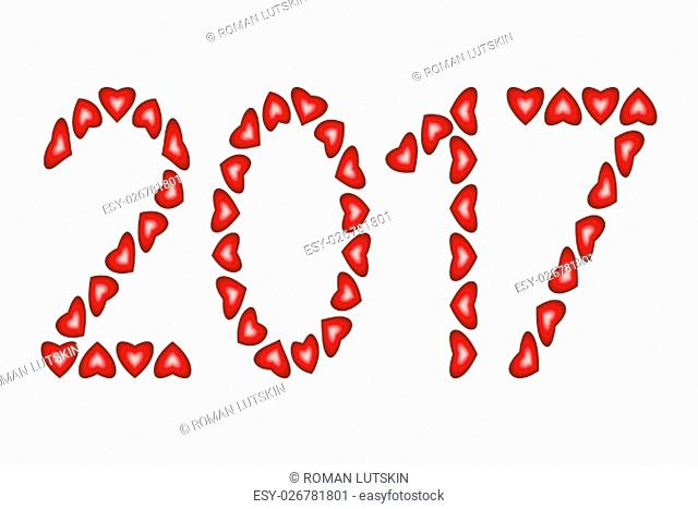 New Year 2017 made from hearts isolated on white background