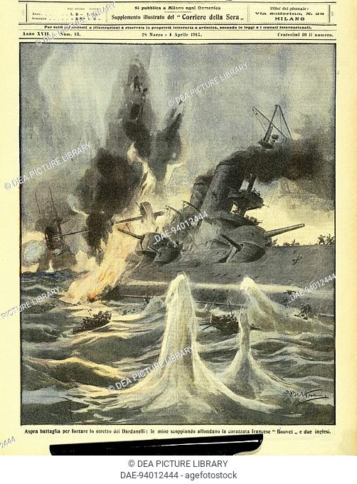 The sinking of the French battleship Bouvet during the Battle of the Dardanelles, March 18, 1915, illustration by Achille Beltrame (1871-1945) from La Domenica...