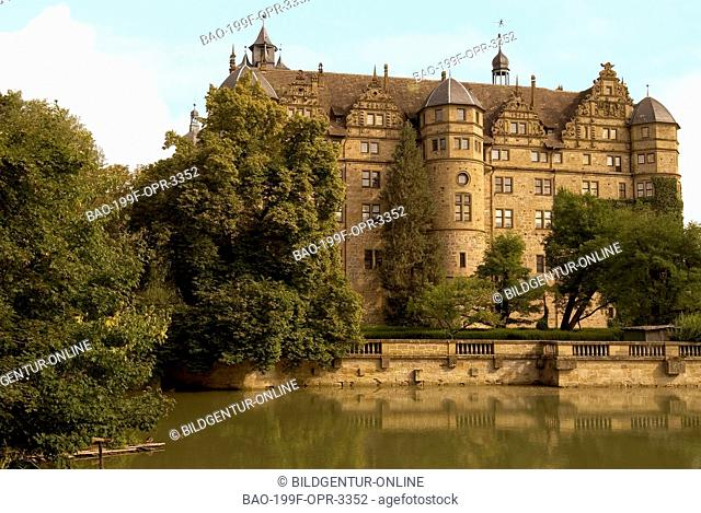 View at Schloss Neünstein, a Renaissance Castle and former residence of the Prince of Hohenlohe in Baden Würtemberg in Souther Germany