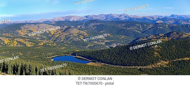 USA, Colorado, Scenic view of Echo lake from Mount Evans