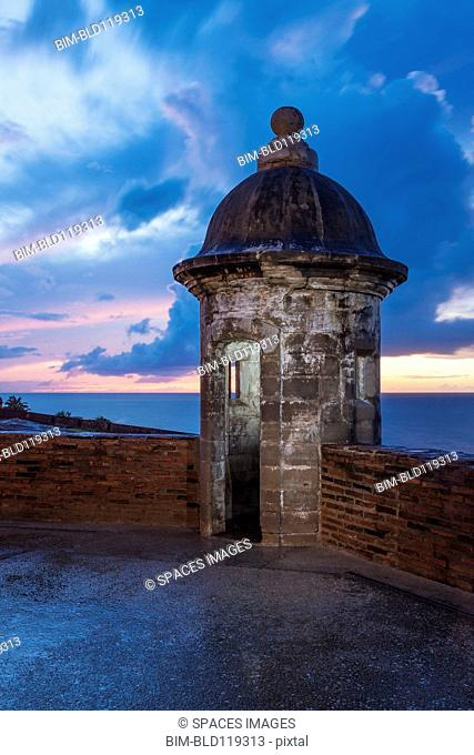 Sentry nook on castle roof, Castillo San Cristobal, San Juan, Puerto Rico