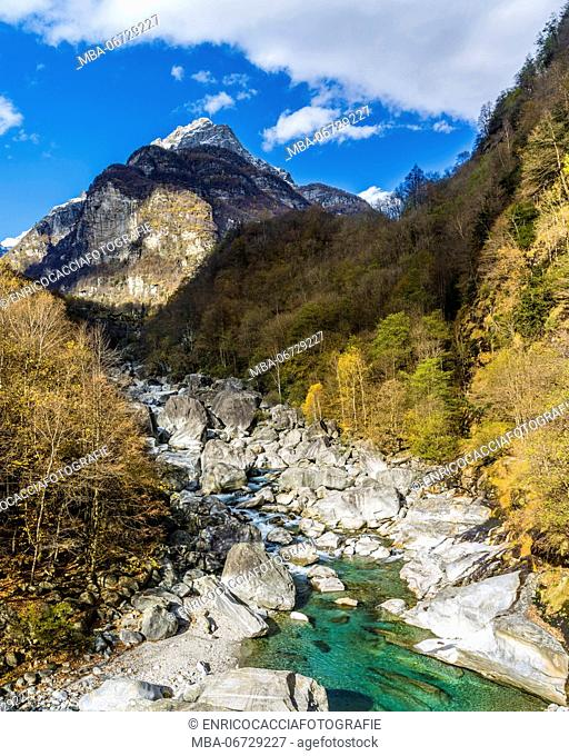 Autumnal landscape in the Verzasca Valley in Ticino