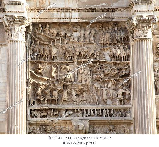 Detailed scene on the Titus arch in the forum Romanum, Rome, Italy