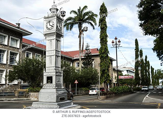 Clock Tower, Independence Avenue Roundabout, Victoria, capital of Mahé, Seychelles