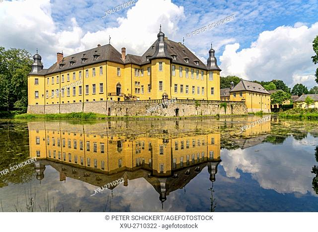 moated castle Dyck, Jüchen, North Rhine-Westphalia, Germany, Europe