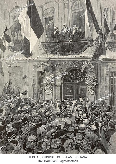 The crowd welcoming the President of the Republic, Felix Faure at the Hotel-de-Ville in Toulon, France, illustration from L'Illustration, No 2768, March 14