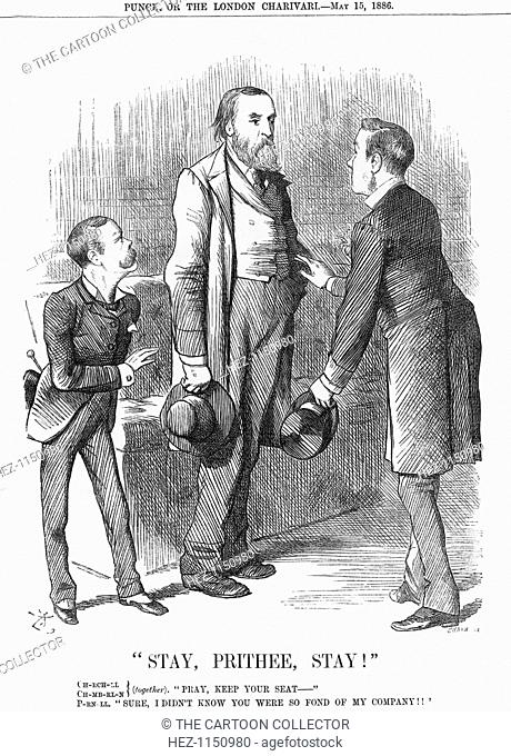 Stay, Prithee, Stay!, 1886. Little Lord Randolph Churchill for the Conservatives, and Joseph Chamberlain for the Radical wing of the Liberals