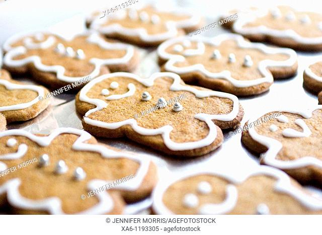 A tray of decorated home baked gingerbread men cookies
