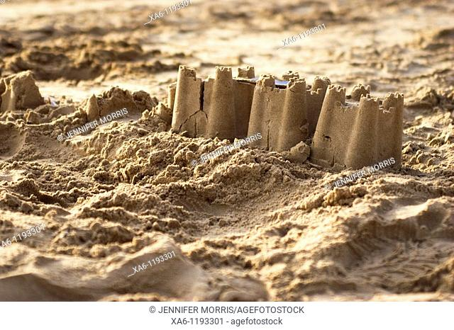 A sandcastle on a beach