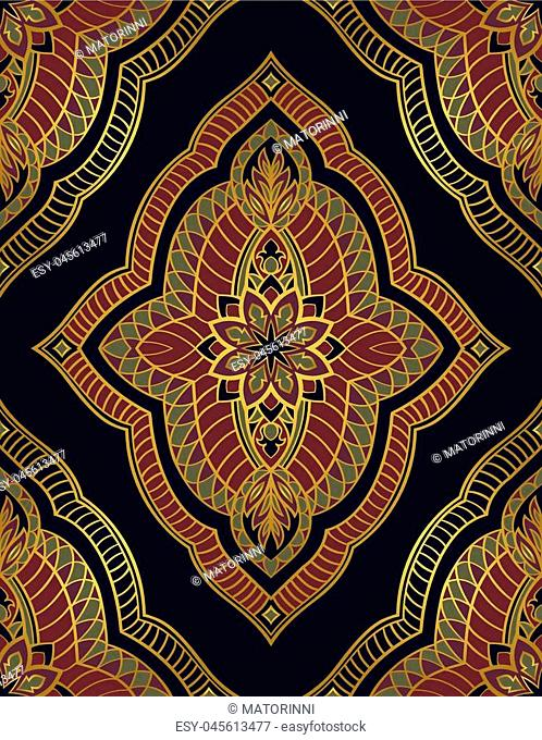 Oriental abstract ornament. Templates for carpet, wallpaper, textile and any surface. Seamless vector pattern of gold contours on a dark blue background