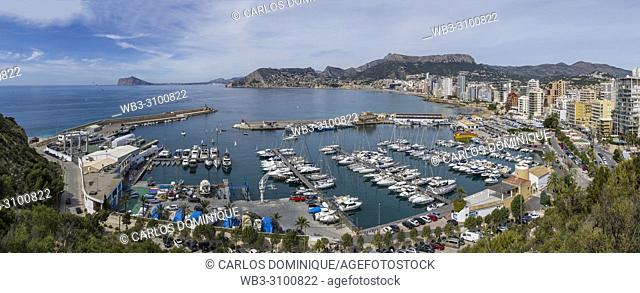 Port of Calpe from Peñón de Ifach. Alicante Province, Valencian Community, Spain