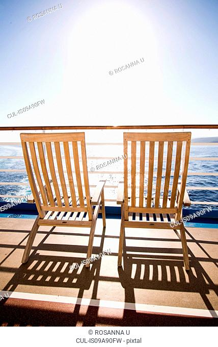 Two deckchairs on cruise ship at sea, Falmouth, Jamaica