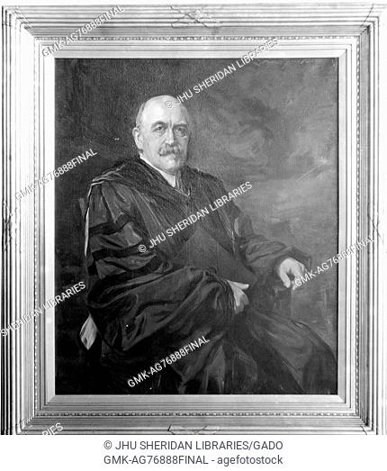 A painting of William Bullock Clark, a professor of geology at Johns Hopkins University, sitting and wearing a dark robe, 1918