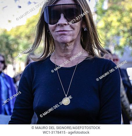 PARIS, France- September 26 2018: Carine Rotifeld on the street during the Paris Fashion Week