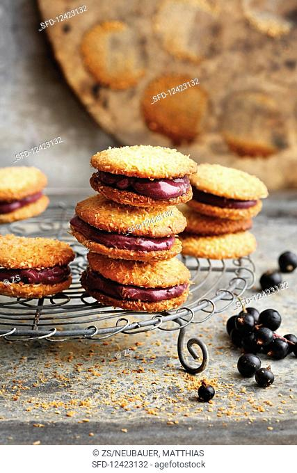 Grilled coconut whoopie pies with blackcurrant cream