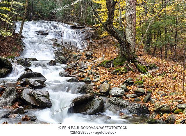 Stark Falls along Stark Falls Brook in Woodstock, New Hampshire USA during the autumn months