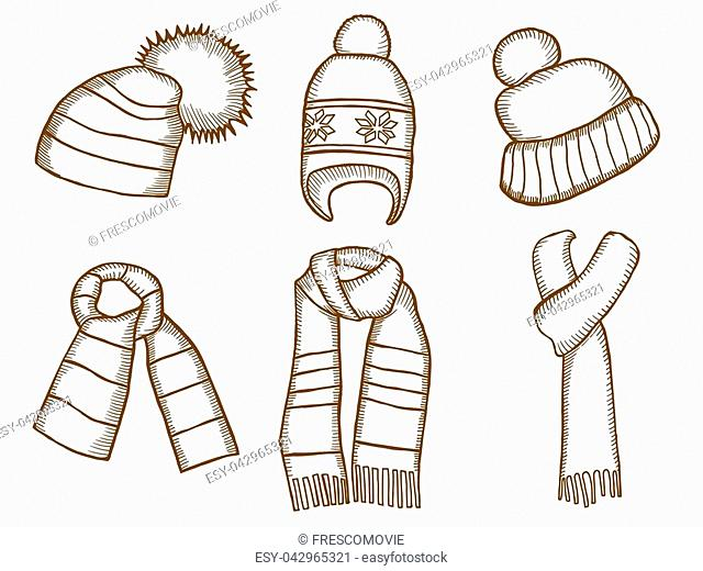 Winter clothes. Santa stocking cap. Knitted hats and Scarfs. Monochrome vector illustration