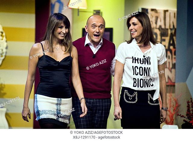 Alfonso Signorini, Cristina Parodi and Benedetta Parodi, Kalispera telecast, Canale 5, Milan, Italy, 2010