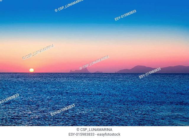 Ibiza sunset from Formentera with Es Vedra
