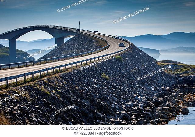 Storseisundet Bridge, in Atlantic Road or Atlanterhavsveien, from Bud to Kristiansund, More og Romsdal, Norway