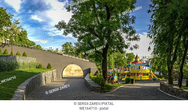 Panoramic view in the Istanbul park in Odessa, Ukraine on a sunny spring morning