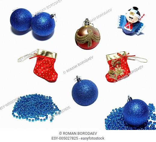 Set of christmas balls, ornaments and red holiday stockings. Iso
