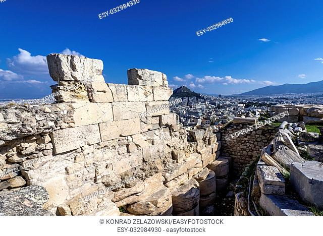 Ruins of a walls in Acropolis of Athens city, Greece