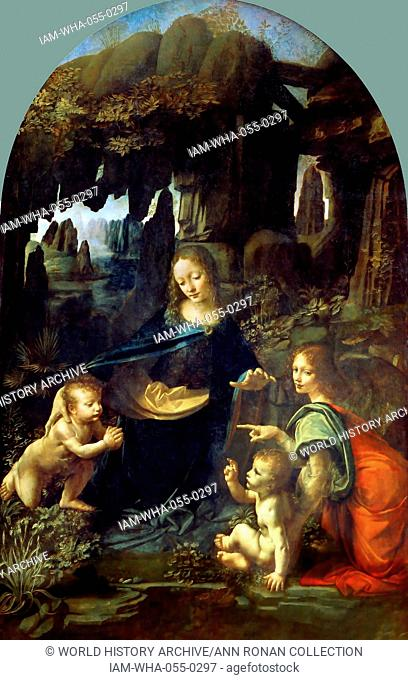Painting titled 'The Virgin of the Rocks' (Madonna of the Rocks) Painted by Leonardo da Vinci (1452-1519) Italian polymath, painter, sculptor, architect