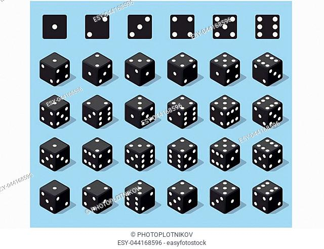Set 24 authentic icons of dice in all possible turns. Twenty four variants loss dice. Black game cubes isolated on blue background