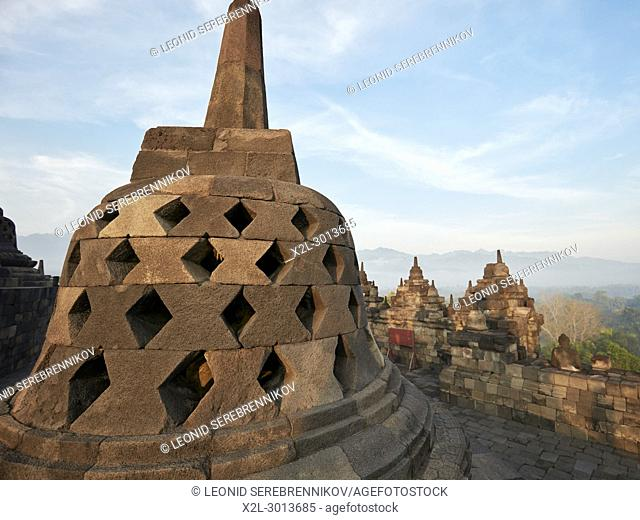 Rhombus holed stupa in Borobudur Buddhist Temple. Magelang Regency, Java, Indonesia