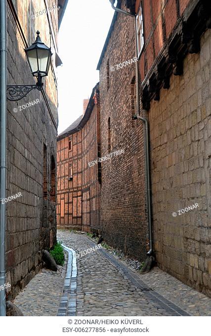 narrow alley in Quedlinburg