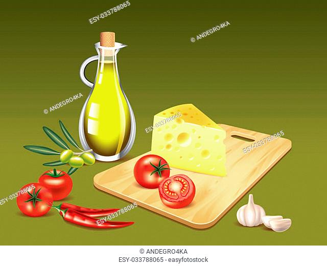 Olive oil bottle, cutting board with cheese and tomatoes, chilly pepper photo realistic vector
