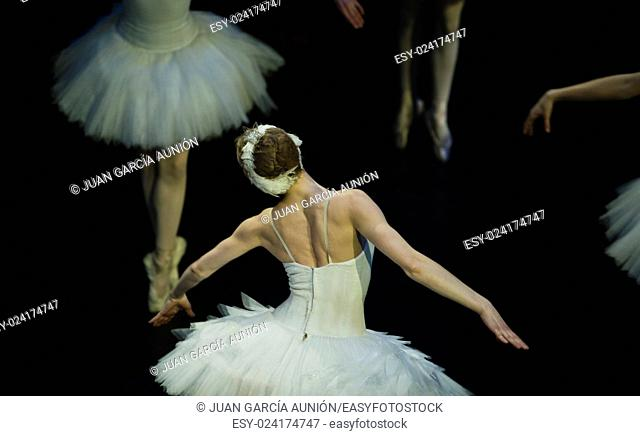 Odette flys in the performance of Swan Lake of Pyotr Tchaikovsky and Petipa