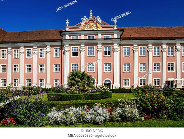 Germany, Baden-Wurttemberg, Lake Constance, Meersburg, New Castle, Castle Garden, Baroque facade