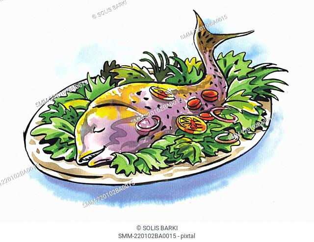 A whole fish in a platter on a bed of lettuce