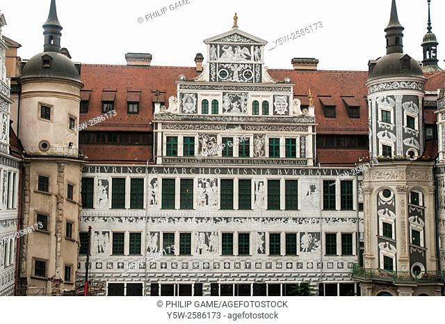 Interior courtyard of the Residenzschloss in Dresden, Germany