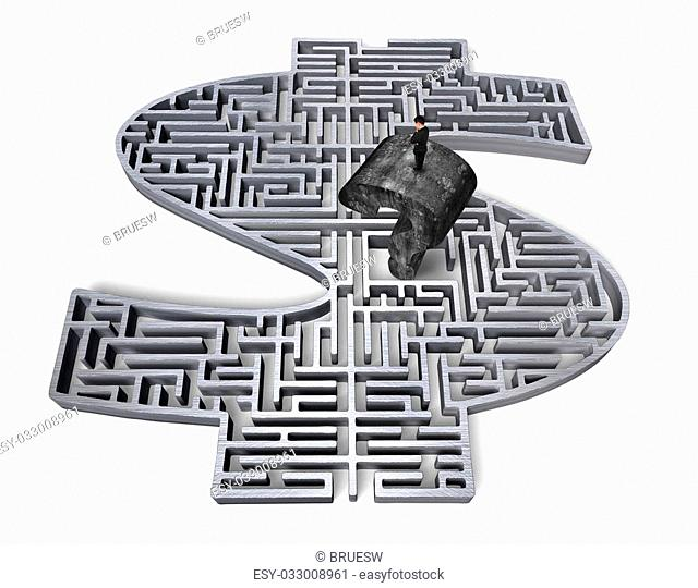 Man standing on top of huge old mottled concrete question mark, in the center of gray 3D money shape maze isolated on white background