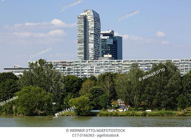 Vienna, Wien, Austria, A-Vienna, Danube, Federal Capital, Donau City, Mischek Tower and apartment block, settlement, residential tower, behind the Saturn Tower