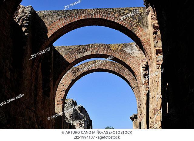 Walls of the Roman theater. Merida, Badajoz, Spain