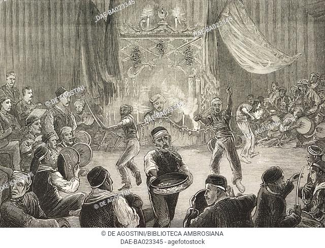 A Malay Kalifa (Sword dance) at Cape Town, South Africa, illustration from the magazine The Graphic, volume XXIX, n 745, March 8, 1884