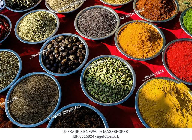 Indian spices for sale at the weekly flea market, Anjuna, Goa, India